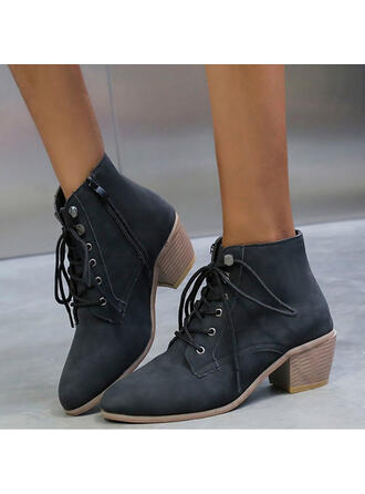 Women's PU Chunky Heel Martin Boots Round Toe With Lace-up shoes