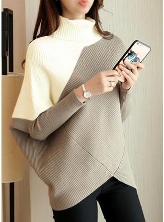 Bloque de Color Cuello De Tortuga Grandes Casuales Vestido de Suéter
