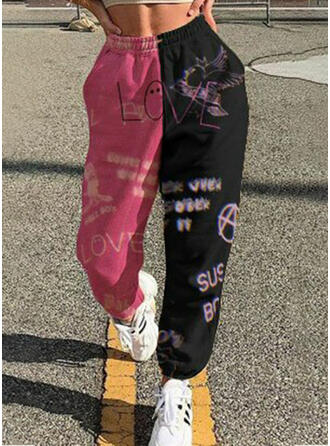 Patchwork Print Casual Sporty Lounge Pants