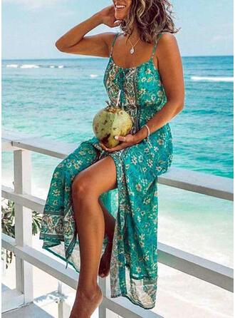 Print/Floral Sleeveless A-line Skater Casual/Boho/Vacation Midi Dresses