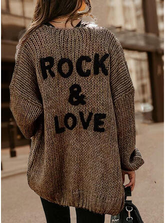 Print Letter Round Neck Casual Sweaters
