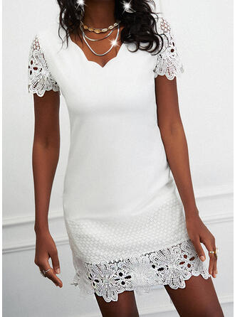 Lace/Solid Short Sleeves Sheath Above Knee Elegant Dresses