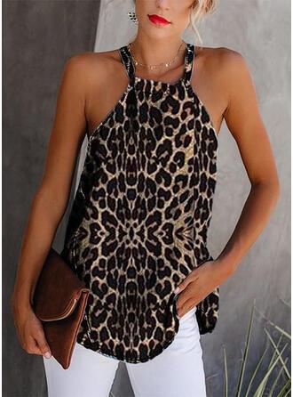 Leopardo Cuello redondo Sin mangas Casual Camisetas sin mangas