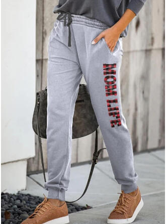 Print Drawstring Casual Sporty Stretchy Lounge Pants
