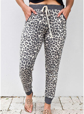Talla extra Leopardo Cordón Largo Casual Deportivo Yoga Pantalones