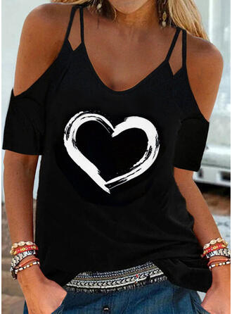 Print Heart Cold Shoulder Short Sleeves Cold Shoulder Sleeve Casual Blouses