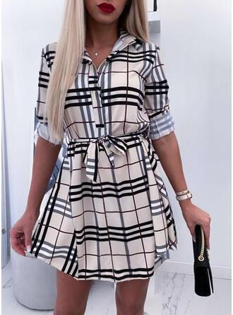 Print/Plaid Long Sleeves Sheath Above Knee Casual Dresses