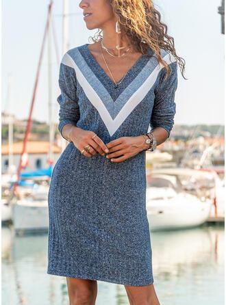 Color Block Long Sleeves Sheath Knee Length Casual Dresses