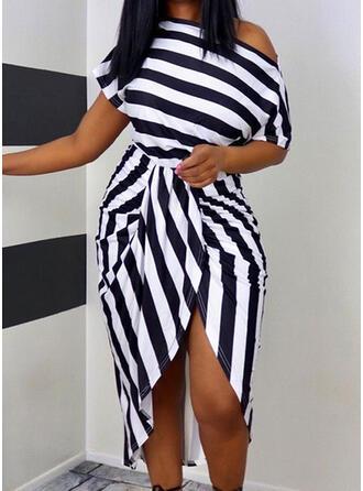 Striped Short Sleeves Sheath Asymmetrical Casual Dresses