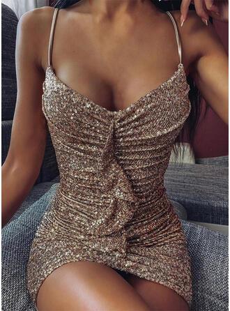 Lentejuelas/Sólido Sin mangas Ajustado Sobre la Rodilla Sexy/Fiesta Vestidos