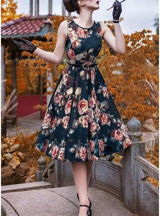 Print/Floral Sleeveless A-line Skater Vintage/Party/Elegant Midi Dresses