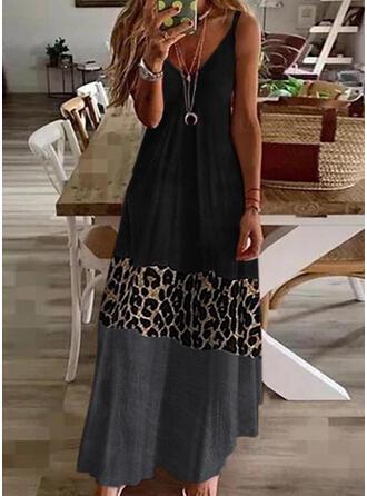 Color Block/Leopard Sleeveless Shift Casual Maxi Dresses