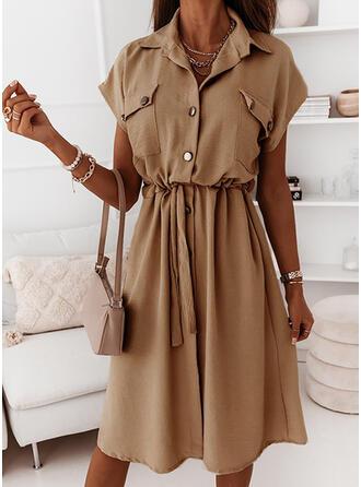 Solid Short Sleeves A-line Knee Length Casual Shirt/Skater Dresses