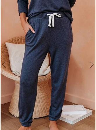 Sólido Cordón Largo Casual Deportivo Pantalones