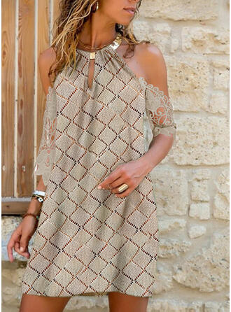 Lace/Solid/Hollow-out 1/2 Sleeves Shift Above Knee Casual Tunic Dresses