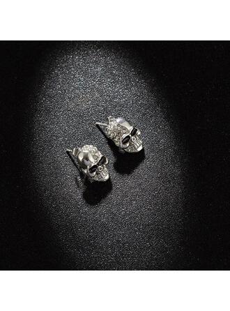 Cráneo Halloween Aleación Diamantes de imitación con Diamantes de imitación Pendientes 2 piezas