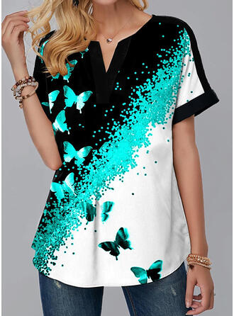 Print Butterfly V-Neck Short Sleeves Casual Blouses