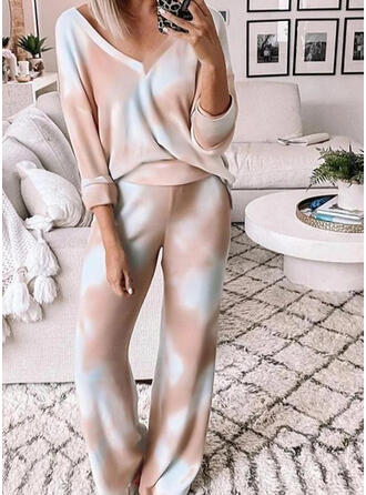 Polyester Long Sleeves V Neck Tie Dye Pyjama Set