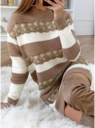 Bloque de Color Cuello de Soporte Casuales Largo Vestido de Suéter