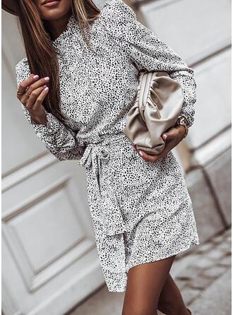 Print Long Sleeves/Puff Sleeves Sheath Above Knee Casual Dresses