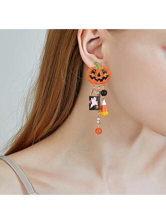 Halloween Calabaza Aleación con Borlas Pendientes 2 piezas