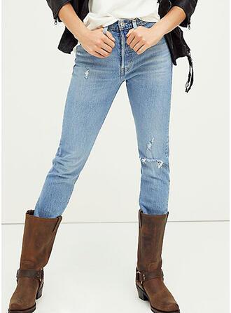 Ripped Elegant Plain Denim & Jeans