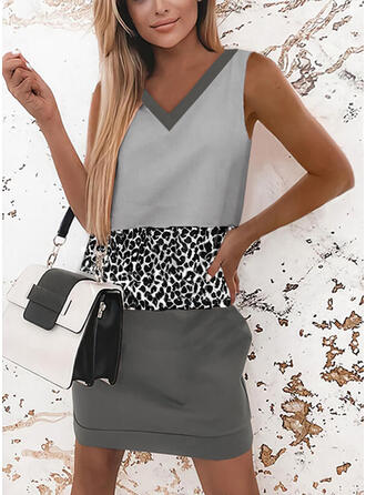 Color Block/Leopard Sleeveless Bodycon Above Knee Casual Tank Dresses