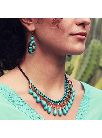 Classic Boho Alloy Turquoise Braided Rope Women's Necklaces