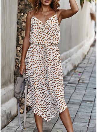 Print/Backless Sleeveless A-line Slip/Skater Casual/Vacation Midi Dresses
