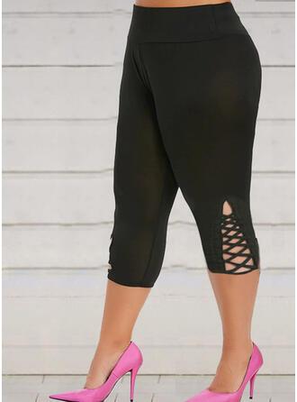 Solid Plus Size Yoga Stretchy Leggings