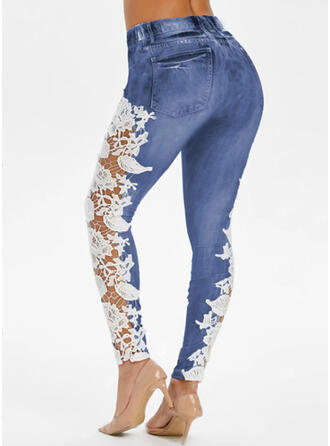 Lace Long Sexy Plus Size Jacquard Pocket See-through Leggings