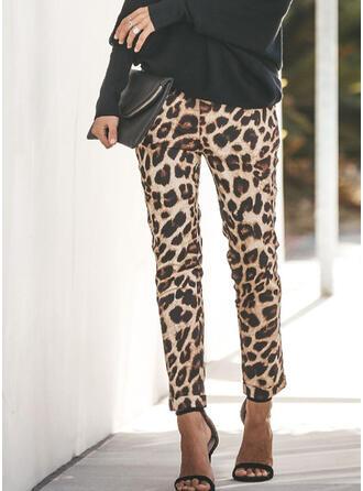 Fruncido Leopardo Largo Casual Sexy Deportivo Pantalones