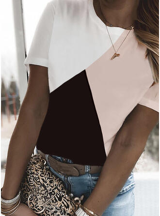 Color Block Round Neck Short Sleeves T-shirts