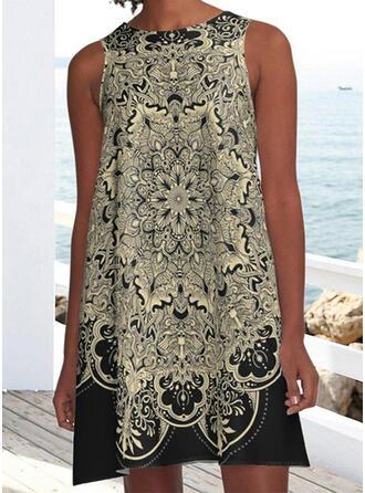 Print Sleeveless Shift Above Knee Casual/Boho/Vacation Tank Dresses