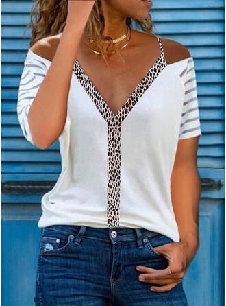 Leopard Cold Shoulder Short Sleeves Casual Blouses