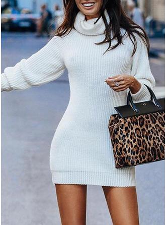 Sólido Cuello De Tortuga Ajustado Vestido de Suéter