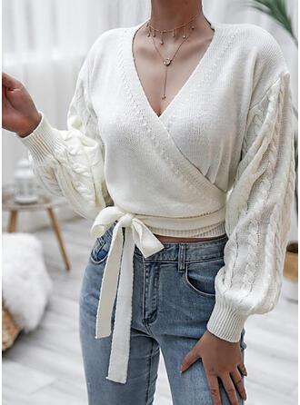 Sólido Punto De Cable Cuello en V Casuales Suéteres