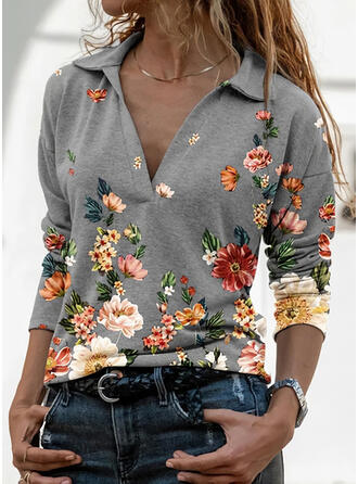 Impresión Floral Solapa Manga Larga Casual Blusas