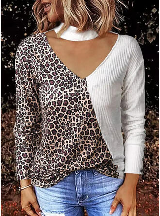 Color Block Leopard High Neck Long Sleeves Casual Blouses
