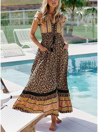 Print/Floral Short Sleeves A-line Skater Casual/Boho Maxi Dresses