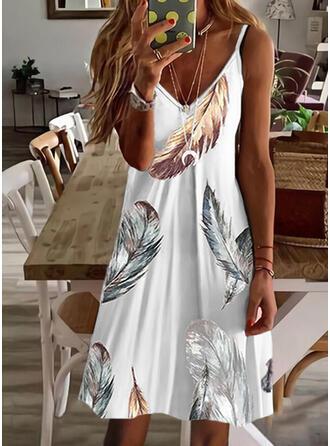 Print Sleeveless A-line Above Knee Casual Slip Dresses