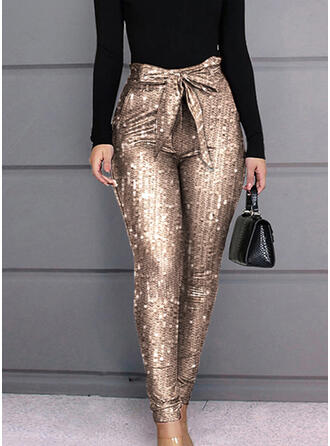 Lentejuelas Bowknot Largo Elegante Sexy Pantalones