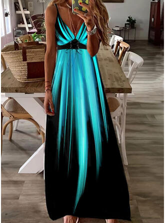 Print/Gradient/Lace-up Sleeveless A-line Slip/Skater Casual/Vacation Maxi Dresses