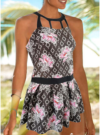 Floral Print Round Neck Amazing Exquisite Novelty Luxury Tankinis Swimsuits