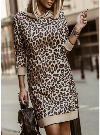 Leopard 3/4 Sleeves Sheath Above Knee Casual Dresses