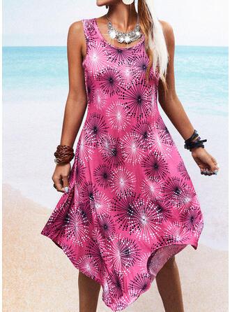 Print Sleeveless Shift Asymmetrical Casual/Vacation Tank Dresses