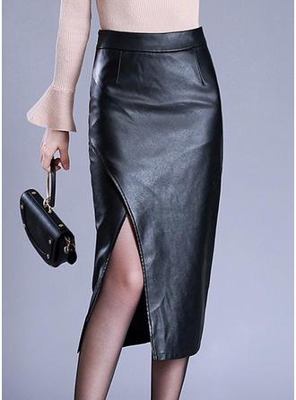 Leather/PU Plain Mid-Calf Pencil Skirts High-Slit Skirts