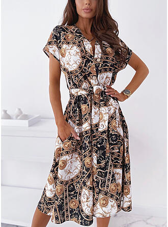 Print/Leopard Short Sleeves A-line Knee Length Casual/Vacation Skater Dresses