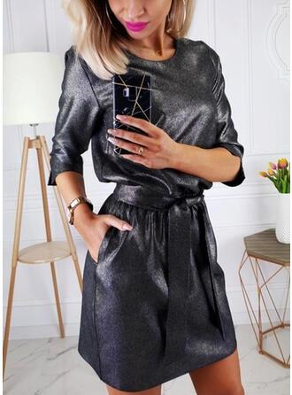 Sólido Mangas 1/2 Cubierta Sobre la Rodilla Casual/Elegante Vestidos