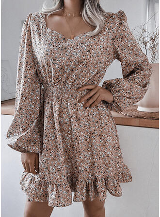 Print/Floral Long Sleeves/Puff Sleeves/Lantern Sleeve A-line Above Knee Casual Skater Dresses